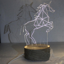 Kustom <span class=keywords><strong>Ilusi</strong></span> Berbintang Transparan Unicorn LED Night Light
