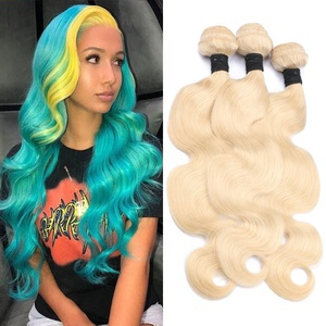 Top quality blond 613 color body wave virgin cuticle aligned hair