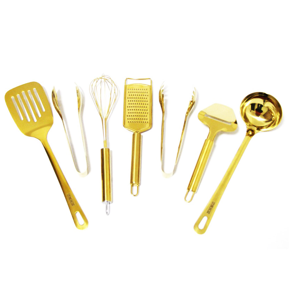 Chinese Supplier Kitchen Accessories Gold Nonstick Finish Cooking Utensil Set