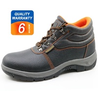 Split embossed leather steel toe cap cheap safety shoes work