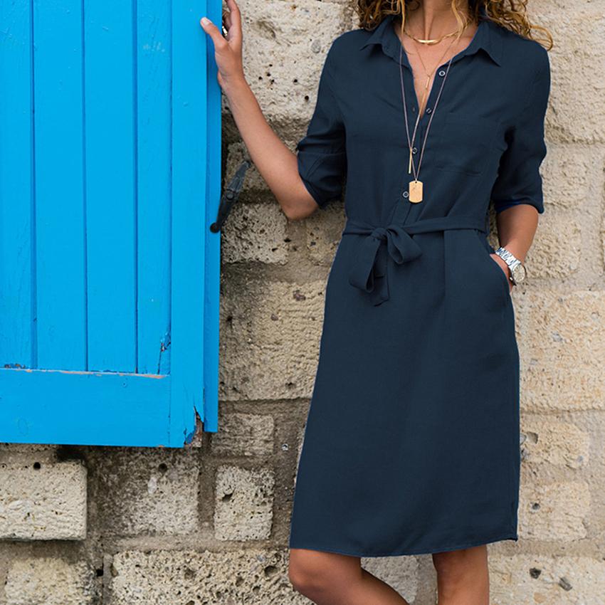 0da5941141b Половина рукава отложной рубашки Платье женское Soild Мода карман пояса  повседневные Прямые Платья Vestidos летнее новое