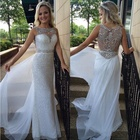 Cheap Ivory Long A-line Sequins Formal Prom Evening Dress