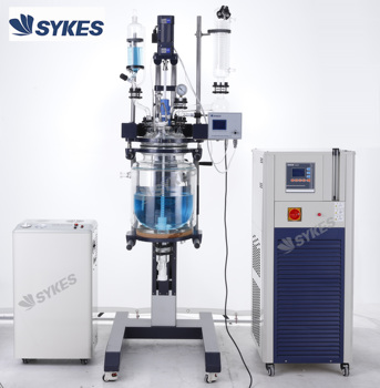 10L 20L 50L Two-layer Jacketed Lifting Glass Reactor Chemical Reactor with Vacuum Pump and Circulator