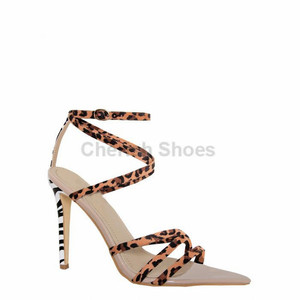 Leopard Buckled Ankle strap heels for women pointed toe zebra Stiletto Heels summer sandal sexy sandals women girls shoes