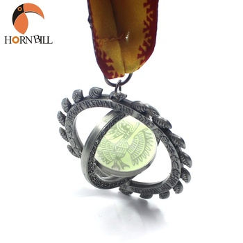 Hornbill crafts customized metal silver double spinning glow in the dark run finisher medals with ribbon