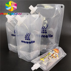 Reusable drinking water bottle bag juice milk package food liquid pouch stand up packaging with spout on side