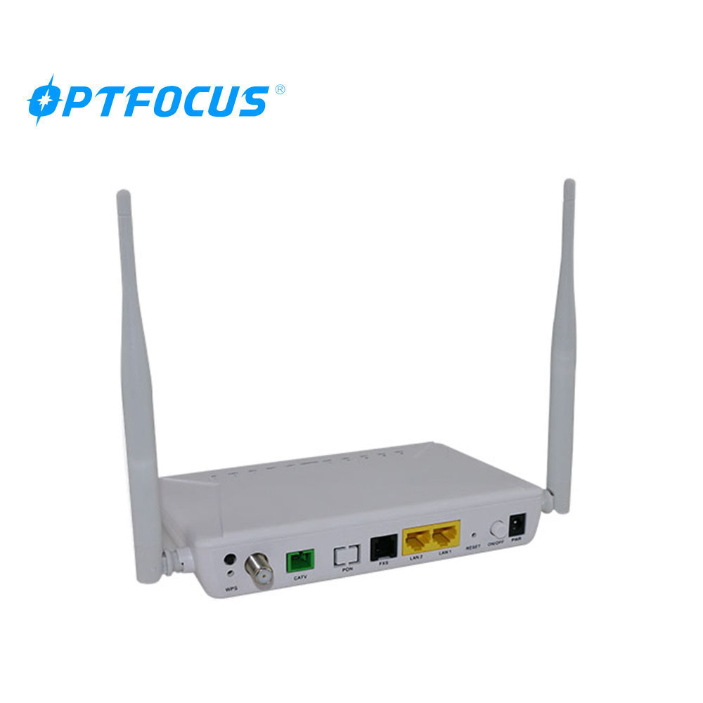 Fiber Optic FTTH 1GE+1FE+CATV+WIFI GPON EPON dual model  ONU compatible with ZTE/HUAWEI/Fiberhome olt