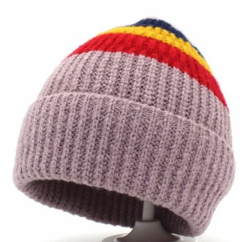 New arrival Hot SELL STOCK striped knitting pattern acrylic soft beanie hat