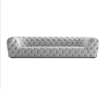 Modern White Velvet Tufted Lounge Sofa