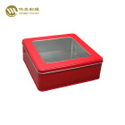 Custom printed square gift tin box with PVC window