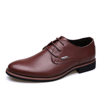 PDEP official genuine leather lace up business  flat dress men male size38-44 office casual formal business shoes