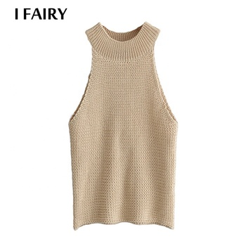 Chinese Manufacturer Retro Women's Sleeveless Halterneck Knit Short Vest