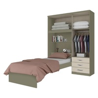 built-in Latest Modern MFC Wardrobes hotel bed room Furniture with single bed and open storage space bookcase