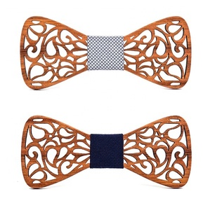 Men's bow tie collectible carved designs fabric centerpiece wooden ties men