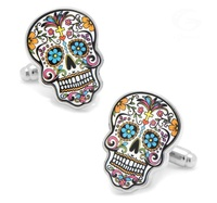 Premium Interesting Luxury Unisex Costume Colorful Skull Plain Cufflinks