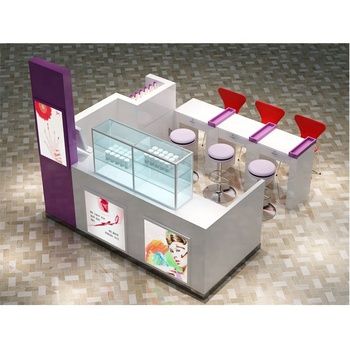 Hot sale wooden and acrylic mall nail bar station with 3D max design
