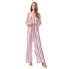 Wholesale women casual striped long sleeves jumpsuit dress