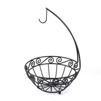 Inno-Crea 2 Tier Hanging Wire Metal Fruit Basket with Banana Hanger