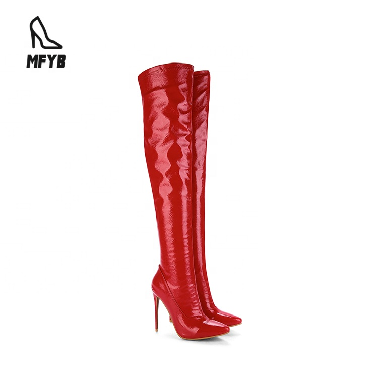 Ladies over the knee <strong>boot</strong> women high heel sexy pu leather <strong>boots</strong> women winter shoes for women