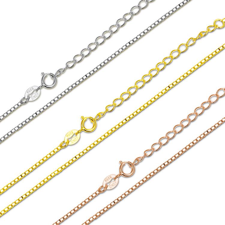 Top Verkauf Mode 925 Sterling Silber box Kette Schmuck Rhodium überzug Frauen Italienischen Einstellbare halskette gold kette