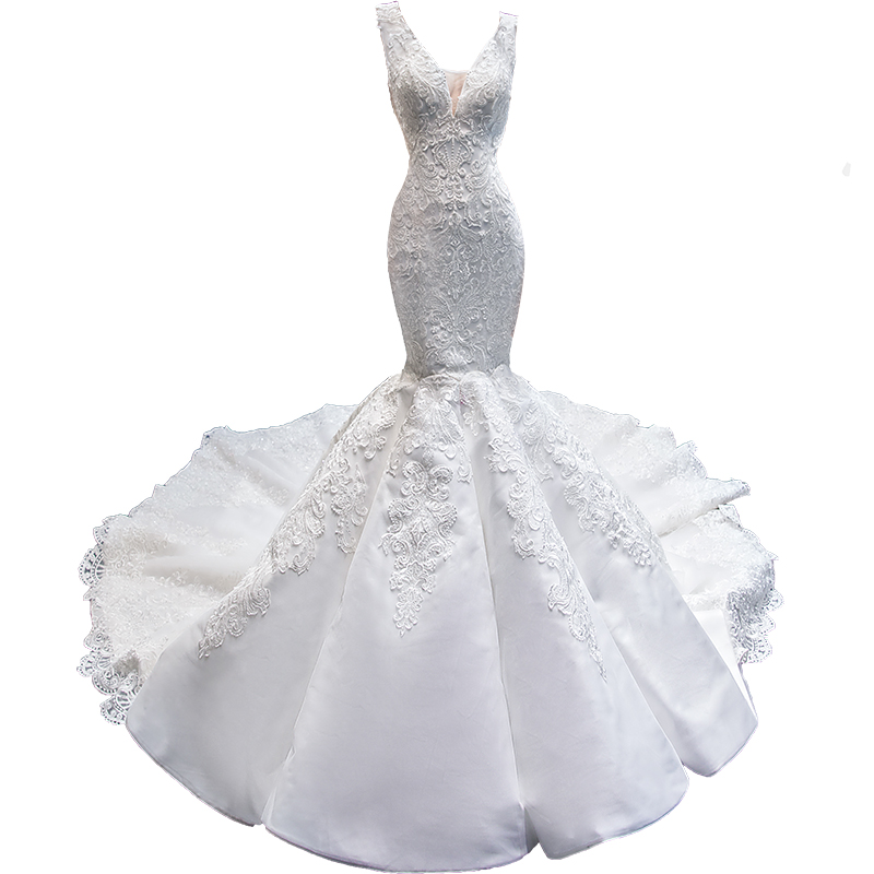 RSM66685 Nyata Putri Elegan Pernikahan Gaun Putih Suzhou Mermaid Wedding Dress