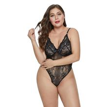 Vrouwen <span class=keywords><strong>Zoete</strong></span> Bloemen Plus Size Teddy Lingerie