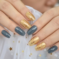 Glossy Ballerina Fake Nails Gold Glitter Pigment Press On Fingernails Grey Coffin Lady Fashion False Nail with Glue Sticker