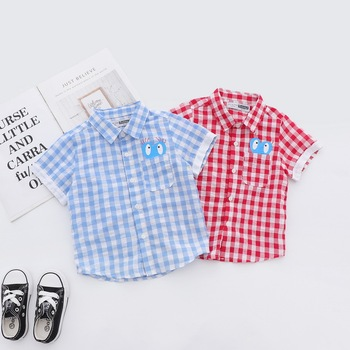 Wholesale 2019 Summer new boy boutique children plaid shirt printed cotton short sleeve