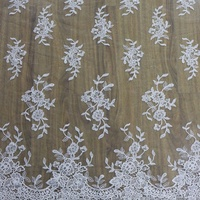 High quality embroidery flower white vintage lace fabric material for wedding dress