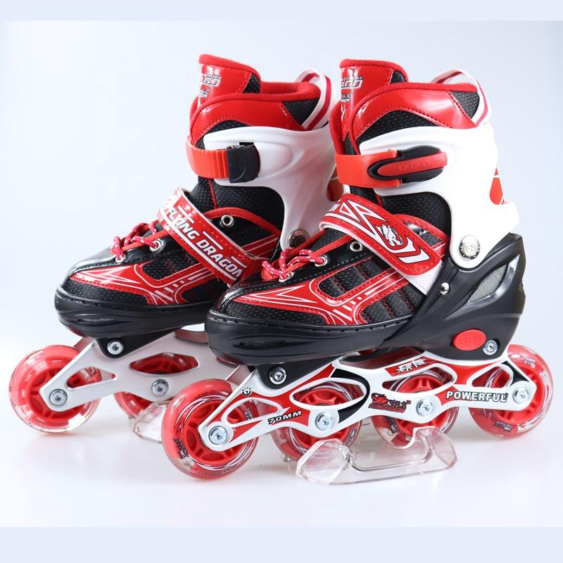 स्टॉक में थोक 4 पु एलईडी चमकती पहियों समायोज्य फ़्लैश इनलाइन रोलर स्केट जूता बच्चों के लिए