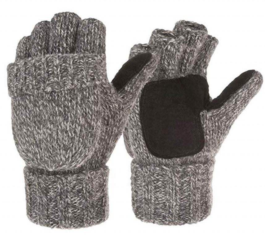 Unisex Convertible Fingerless Winter Gloves Mittens Jewel Flap Cover Wool Gloves 3M Thinsulate Lined