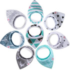 Silicone baby bandana drool bibs, 100% Cotton Adjustable Snaps Bibs For Baby Accessories baby bibs with logo