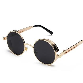 89a49f30b53 Gothic Steampunk Round Metal Sunglasses for Men Women Mirrored Circle Sun  Glasses Brand Designer Retro Vintage Oculos UV400