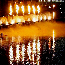 Led musical fire fountain เปลวไฟน้ำพุ fire flame dancing fountain