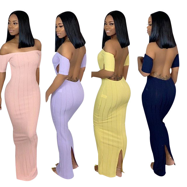 2019 hot verkoop SC8320 fashion solid backless lange maxi bandage bodycon dame jurk