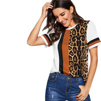 White Color Block Cut-and-Sew Leopard Panel Top Short Sleeve O-Neck Casual T Shirt Women Summer Leisure Tshirt Tops