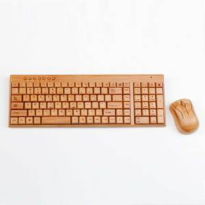 OEM bamboo timber high quality wireless office keyboards computer mouse set wood keyboard and mouse with gift box