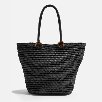Fashion women summer beach handmade circle string round paper braided straw tote crochet shoulder bag with acrylic D ring