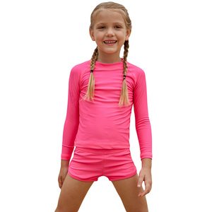 detailed look factory authentic structural disablities Wholesale Little Girls Swimwear Kids Bathing Suits Swimming Costume Rosy  Long Sleeve Two Piece Rashguard Beachwear For Girls