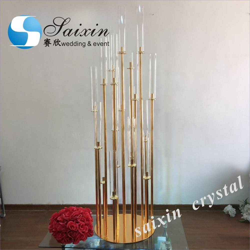 Shinny 20 holder gold candlestick for wedding event table decoration