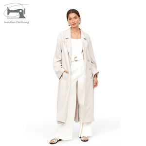 Classical Custom Ladies Fashion white Cotton Clothes Long Women Trench Coat