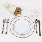 Hot Selling White Rose Gold Disposable Plastic Plates for Parties