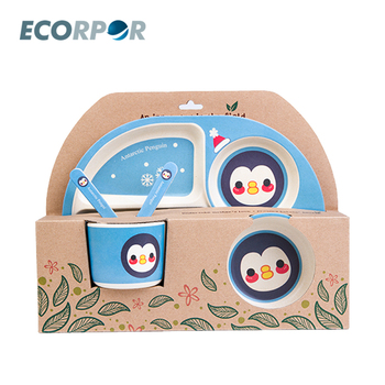 Free Custom Print Bamboo Fiber Baby Tableware Kids Feeding Meal Dish Set