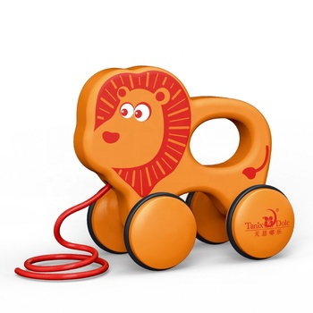 Free wheel Little lion Baby Hand Pull Toy For Baby Kids