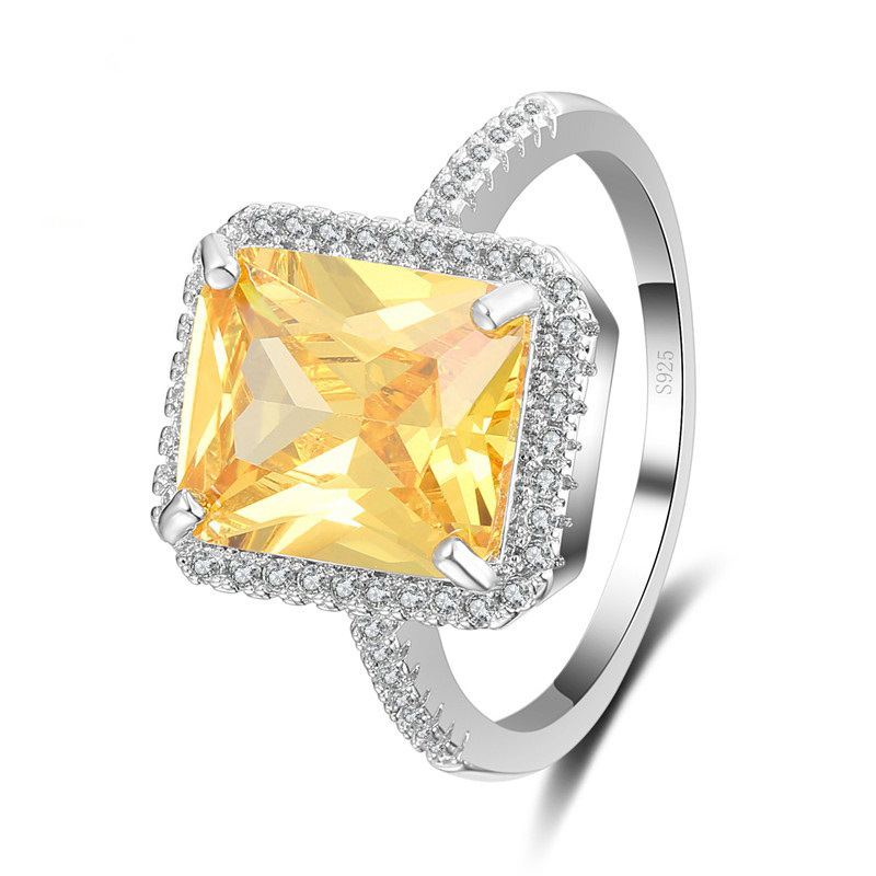 Manufacturer supplier 2019 new yellow diamond rings jewelry women for party jewelry