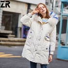 ZR Winter style ladies down jacket warm raccoon fur hooded with pack able down coat