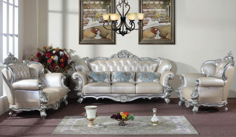 Rice White Genuine Leather Sofa Sets