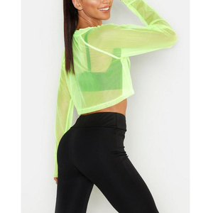 High Quality Custom Gym Cropped Top Long Sleeve Women sexy Workout Crop Top Activewear