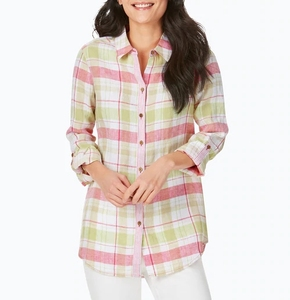 Plaid-Stripe Combo Linen Tunic