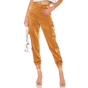 New Style Women's Brilliant Yellow Satin Cargo Pants Ladies' Fashion Zip Fly Harem Trousers